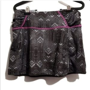 athleta running geometric skort skirt  black gray